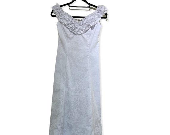 White Baby Ruffle Beach Wedding Dress with Hawaiian Leaf Print Dress