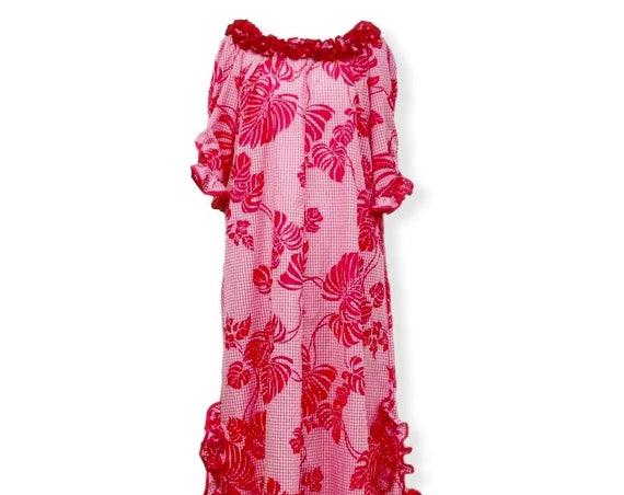 Scoop Neck Pink Palaka Hawaiian Print Muumuu Dress