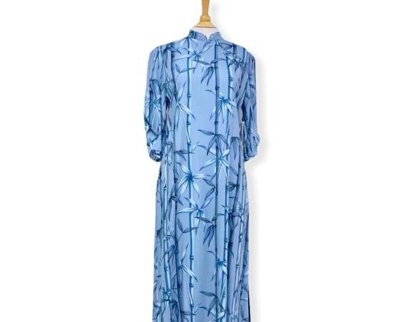 Rayon Blue Bamboo Long Hawaiian Dress | Plus Size