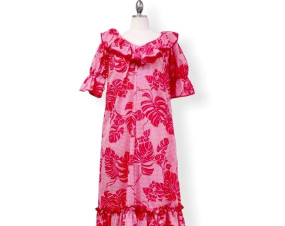 Pink Palaka and Monstera Muumuu Dress