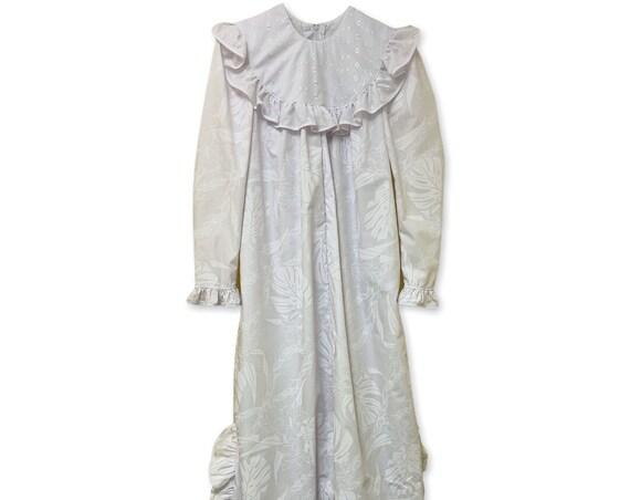White Floral Print Vintage Design Classic Hawaiian Long Sleeve Dress | Church Dress