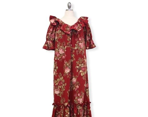 Red Floral Liberty Print Hawaiian Muumuu Dress | Princess Kaiulani Fashions - Red