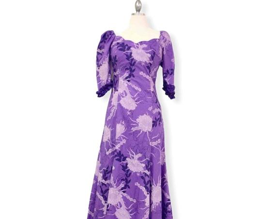 Scalloped Neck Half Sleeve Hawaiian Formal Dress - Purple