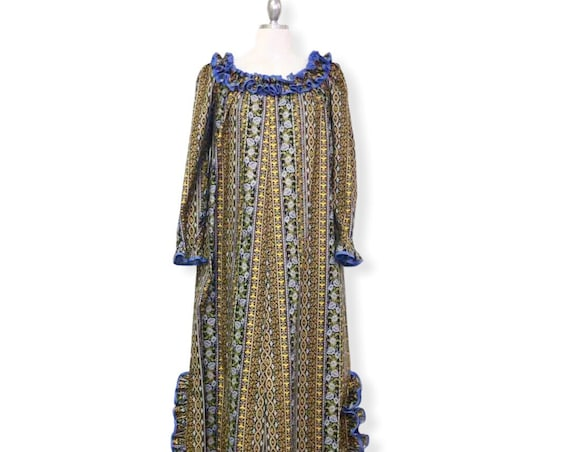 Blue Baby Frill Traditional Hawaiian Muumuu Dress with Golden prints with Small Flowers