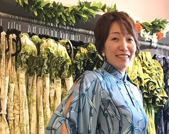 Rayon Blue Bamboo Kimono Sleeve Hawaiian Dress | Plus Size