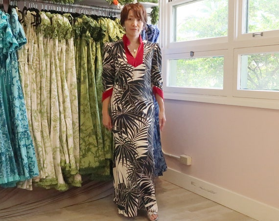 Red Velvet Trim Palm Leaf Black Hawaiian Dress | Princess Kaiulani Fashions