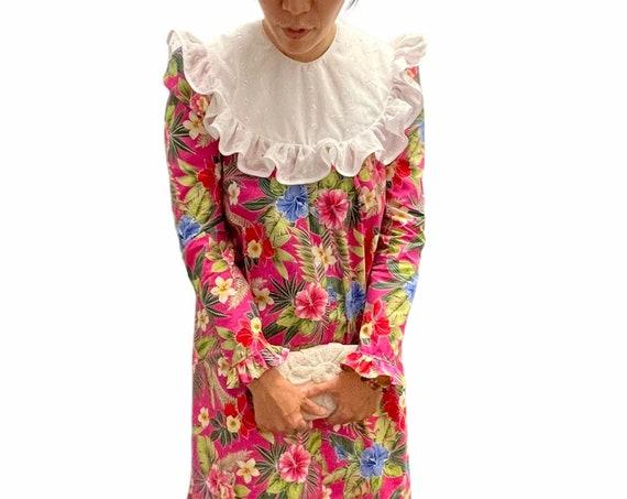 Pink Long Sleeve Muumuu   Classic Hawaiian Dress   Hawaiian Flower Print