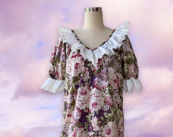 Rose Print with Beige Cotton Lace Vintage Fabric Hawaiian Muumuu Dress