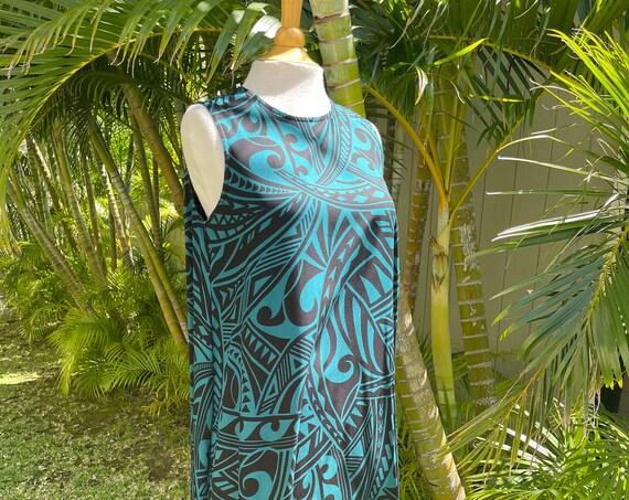 Polynesian Tapa Print Rayon Relaxed A-line Dress