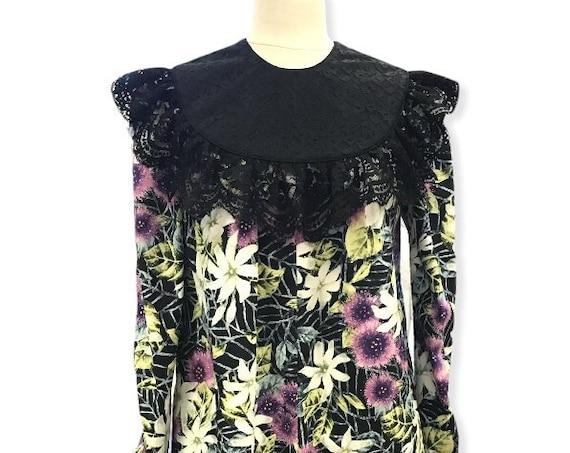 Purple Ohia Lefua Flower Black Muumuu Dress with Black Lace Trim