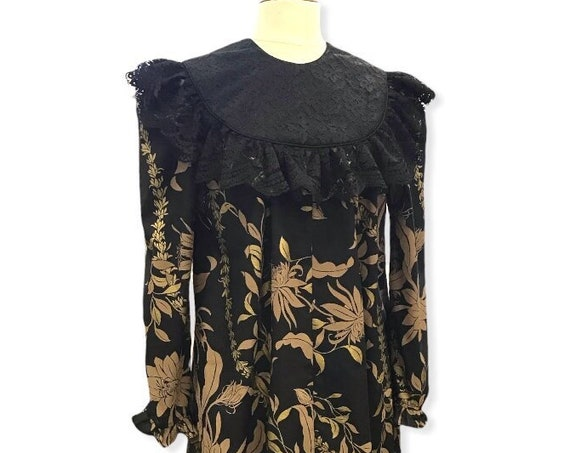 Black with Golden Lei Print Black Lace Trim Hawaiian Muumuu Dress