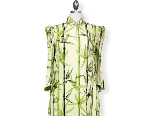 Green Bamboo Maxi Hawaiian Dress