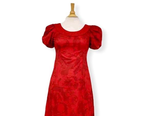 Hawaiian Dress Hand Print Hibiscus Print | Red Holomuu Puff Sleeve
