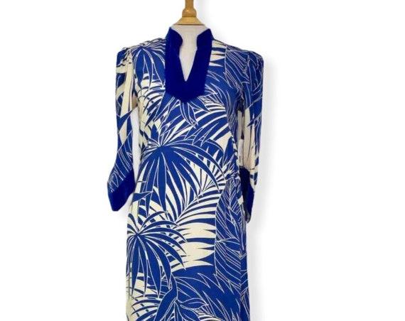 Blue Velvet Trim Palm Leaf Black Hawaiian Dress