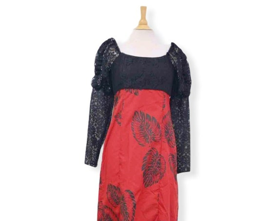 Black Lace Top Vintage Style Red Dress