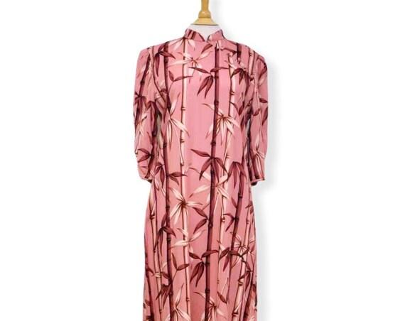 Pink Bamboo Maxi Hawaiian Dress | Plus Size