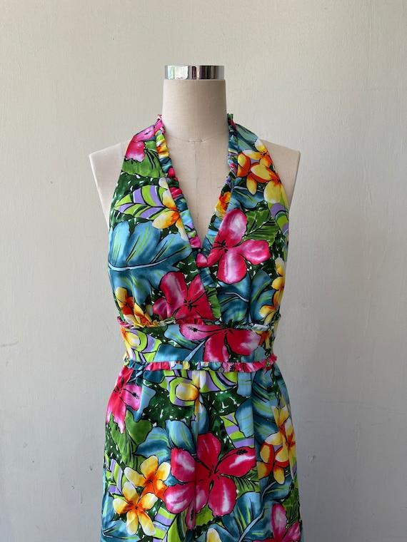 Tropical Flower Vintage Style Halter Design Dress