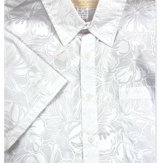 White hibiscus Flower Hawaiian Print Hawaiian Shirt for Wedding or Party