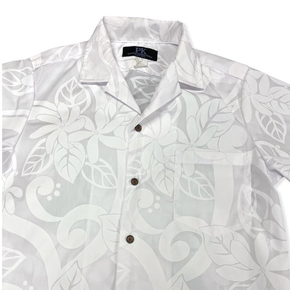 White Large Tiare Flower Hawaiian Shirt for Wedding or Party