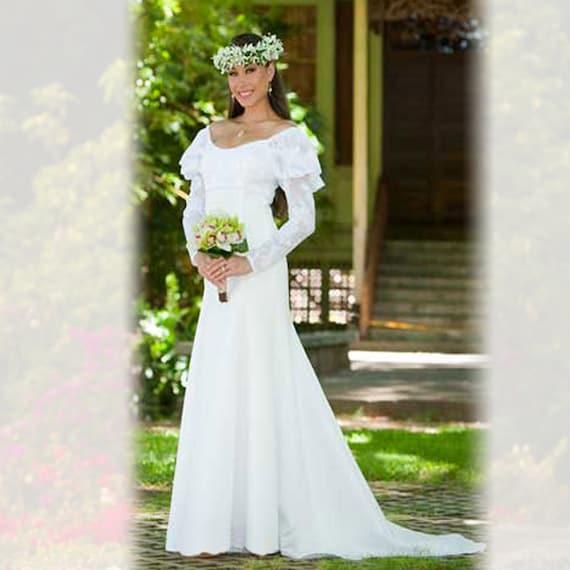 Classic Hawaiian Long Sleeve Wedding Dress | Custom Order Wedding Dress Noela
