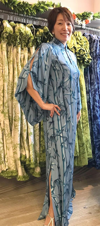 Grayish Blue Bamboo Kimono Sleeve Hawaiian Dress | Plus Size