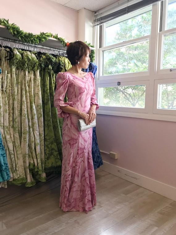 Tropical Leaf Print Long Pink Dress