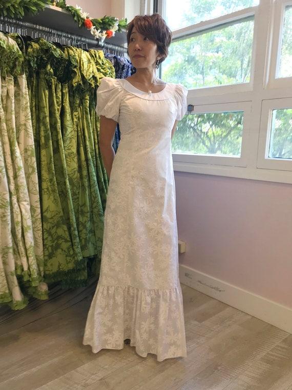White Simple Beach Wedding Dress with Tiare Flower Hawaiian Print Dress