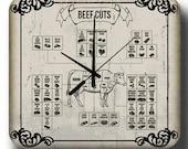 Beef Cuts Butchers Shop Wall Clock Vintage Retro Tin Metal Sign Clock