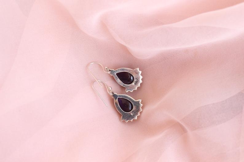 Handcrafted Black Onyx and Purple Amethyst Earrings Holiday Shopping Dangler Earrings Christmas Gift Drop Earrings 925 Sterling Silver