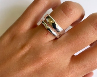 Solid Sterling Silver 925 Double Layer Chunky Stackable Thick Adjustable Ring