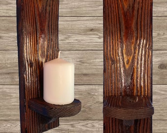 Charred Wood Wall Candle Holder Sconces 29cm