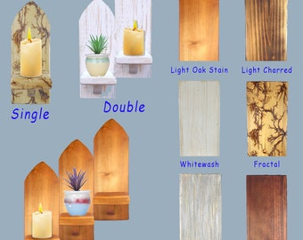 Gothic Arch Wall Church Candle Holder Scones 1, 2 or 3 Shelves. Plant Shelf.
