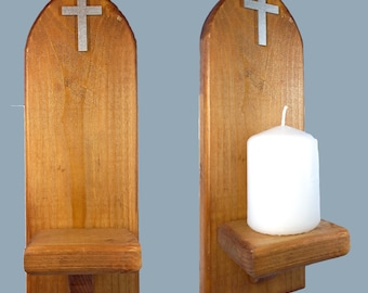 Church Candle Sconce Gothic Celtic Arch with Christian Cross 29cm