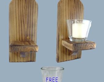 22cm Votive Tealight Candle Sconce Holder Charred Wood FREE Glass Votive Tealight Candle Holder