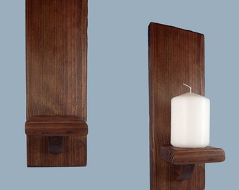 Church Candle Holder Wall Sconce Mahogany Stained Wood Straight Top 29cm Tall