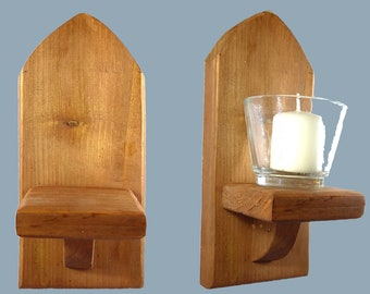 Light Oak Gothic Arch Wall Candle Plant Holder Sconce 22cm Glass Tealight Holders & Votive Candles