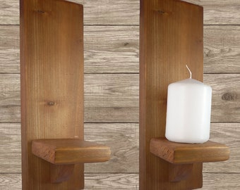 Light Oak Wall Candle Plant Holder Sconce Straight Top 29cm
