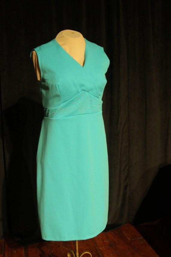 1970's Turquoise Plus Size Vintage Dress