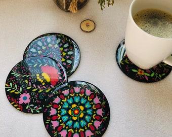 Wooden key ring or FLOWER ID ~ eco-friendly handmade unique design *Mandala *flower *Spring night ~Geranium Atelier~