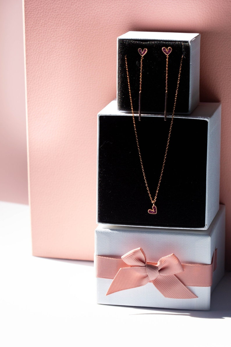 Parure oro rosa con cuore pendente in argento sterling 925 Rose gold parure with pendant heart in sterling silver 925