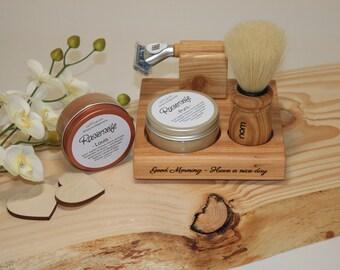 Customizable shaving set incl. shaver, shaving brush and shaving soap made of wood,