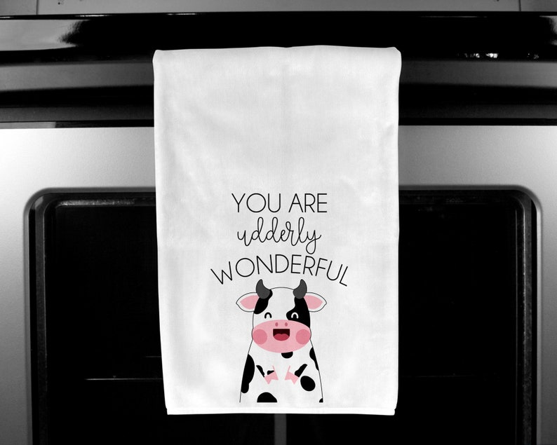 Cow Gifts Kitchen Decor Food Pun Towel Valentine/'s Day Gift Funny Kitchen Dish Towel Housewarming Gift