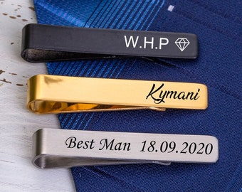 groomsmen tie clip Father of the Groom mens accessories custom tie clip custom silver tie clip Father of the Bride set of 10
