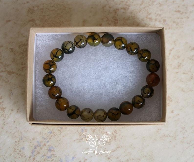 One Size Gemstone Bracelet Healing Bracelet Dragons Vein Agate Bracelet