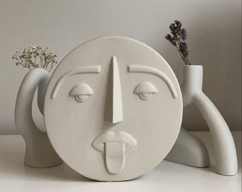 Large Round Abstract Ceramic Face Vase
