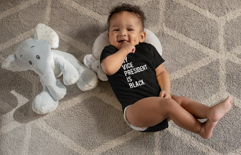 Kamala Harris Baby Onesie Jersey Bodysuit Vice President 2021 Baby/'s Cotton Clothes My Vice President Is Black Baby Shower Gift
