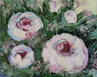 Impasto Floral Oil Painting White Peonies Original Palette knife Textured Abstract Artwork Modern Wall Decor Flowers Peony Ölgemälde