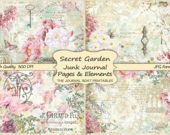 Spring Vintage Books Journal Pages Steampunk Junk Journal Kit Antique Paper Ephemera Digital Paper Prints Scrapbook