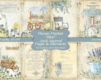 Blue Digital Journal Kit Shabby Chic