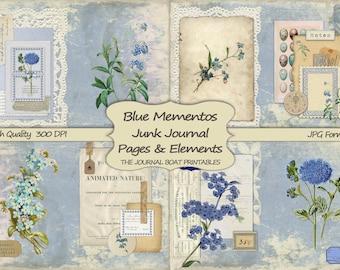 Junk Journal Digital Kit, Blue Mementos, vintage ephemera kit, collage sheets, journal pages, junk journal DIY, printable paper